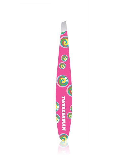 Closeup   limited edition rainbow lollipop swirl mini slant tweezer pink